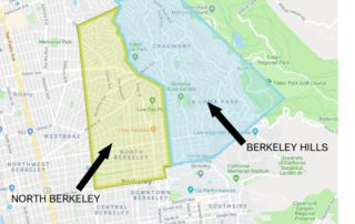 Map showing boundaries of North Berkeley and Berkeley Hills areas discussed.