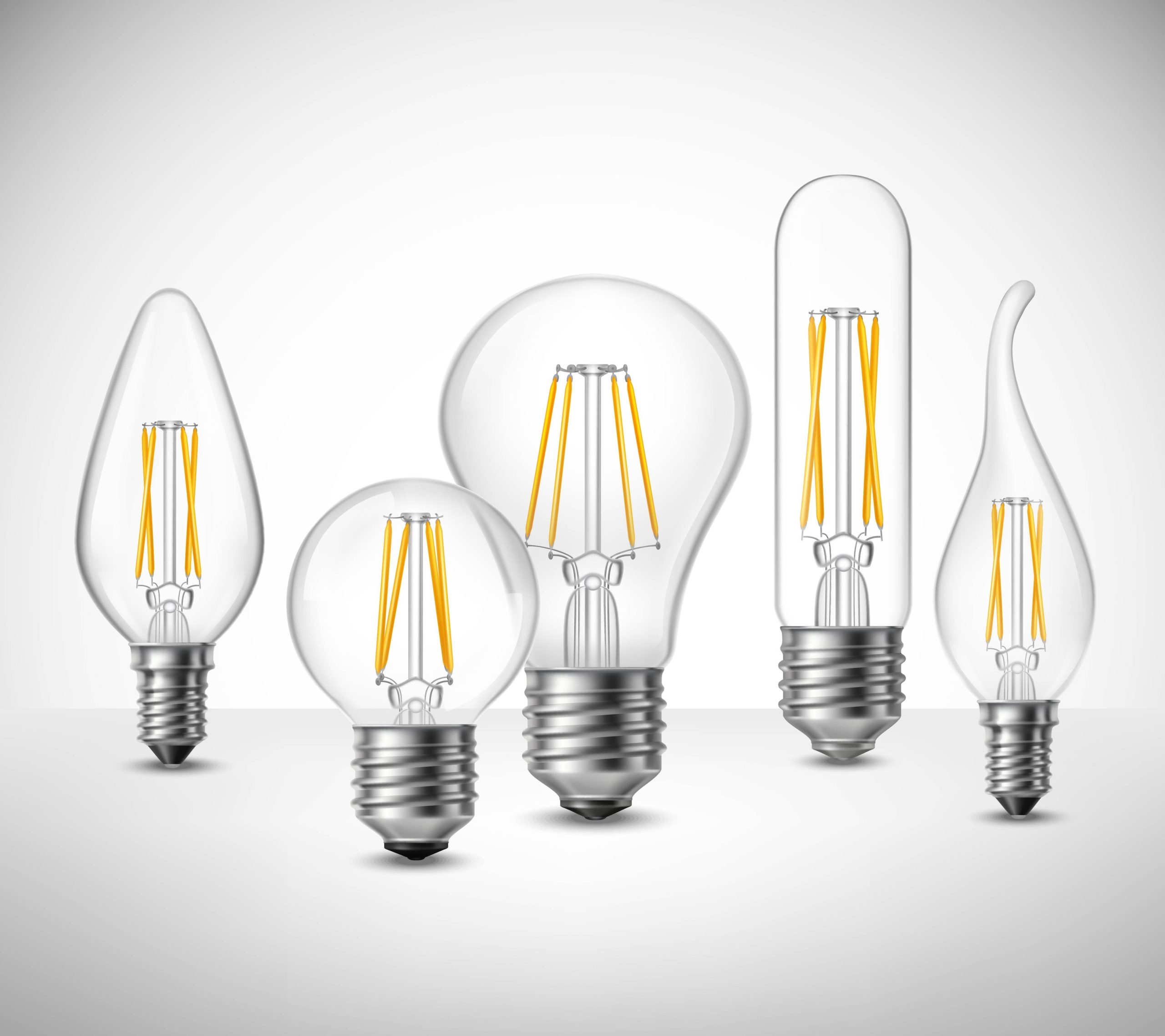 Showing different types of LED light bulbs